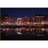 Vliesové fototapety Amsterdam v noci rozměr 368 cm x 254 cm