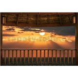 Fototapety západ slunce na terase rozměr 368 x 254 cm