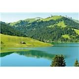 Vliesové fototapety Švýcarské horské jezero rozměr 368 cm x 254 cm