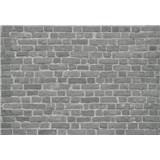 Vliesové fototapety cihlová stěna černá rozměr 368 cm x 254 cm