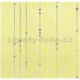 Vinylové tapety na zeď WohnSinn - proužky s kuličkami stříbrno-zelené