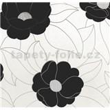 Vinylové tapety na zeď WohnSinn - květy černé se stříbrnými konturami