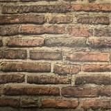 Vliesové tapety na zeď cihlová stěna hnědá