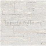 Vliesové tapety na zeď Brique 3D ukládané kameny světle šedé s výraznou plastickou strukturou