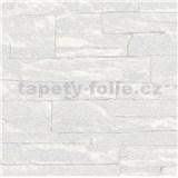 Vliesové tapety na zeď Brique 3D ukládané kameny bílé s výraznou plastickou strukturou