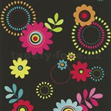 Papírové tapety na zeď X-treme Colors - květy růžové na černém podkladu