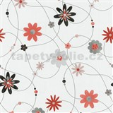 Papírové tapety na zeď X-treme Colors - květiny oranžovo-šedé - SLEVA