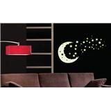 Samolepky na stěnu měsíc a hvězdy - ve tmě svítí