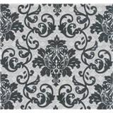 Vliesová tapeta na zeď Florence zámecký vzor černý na stříbrno-bílém podkladu