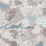 Papírové tapety na zeď Dieter Bohlen - Love modré - SLEVA