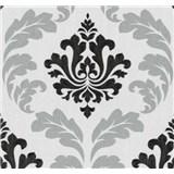 Vliesové tapety Einfach Shöner zámecký vzor stříbrno-černý - SLEVA