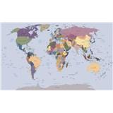 Vliesové fototapety mapa světa rozměr 208 cm x 146 cm
