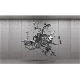 Vliesové fototapety 3D šedý abstrakt na betonovém podkladu rozměr 416 cm x 254 cm