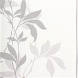 Tapety Lacantara 3 - stonky listů šedé se třpytem - SLEVA