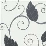 Tapety na zeď Suprofil - černé listy s lesklým ornamentem na bílém podkladu