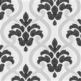 Vliesové tapety na zeď Memphis ornament šedo-černý