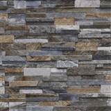 Vliesové tapety na zeď Origin - kámen pískovec hnědý, šedý, tm.modrý