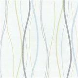 Vliesové tapety na zeď Patchwork - vlnovky modro-zelené - SLEVA