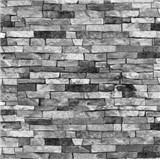 Tapety na stěnu papírové - kamenný obklad šedý