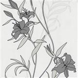 Tapety na zeď Timeless - lilie šedé