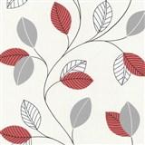 Papírové tapety na zeď Tribute - listí červené, šedé na bílém podkladu