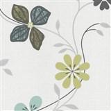 Vliesové tapety na zeď Tribute - květy moderní modro-zelené