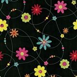 Papírové tapety na zeď X-treme Colors - květiny barevné na černém podkladu